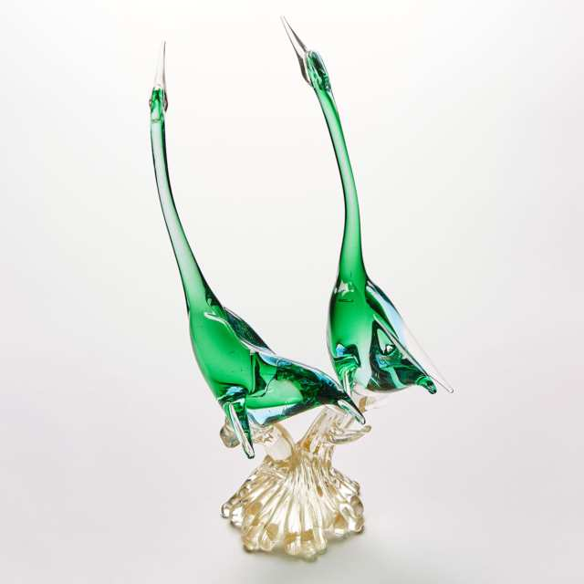 Murano Glass Group of Two Green Cranes, probably Seguso, mid-20th century