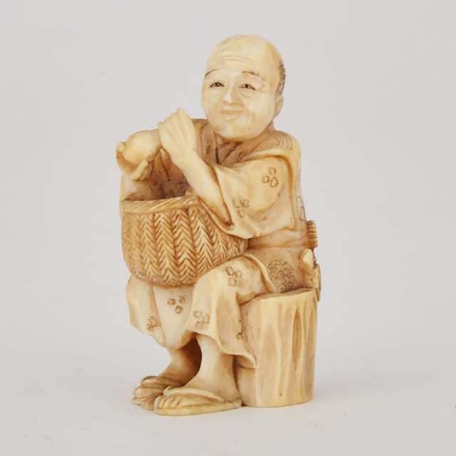 Japanese Carved Ivory Okimono Figure of a Merchant with a Basket and Bottle, early 20th century