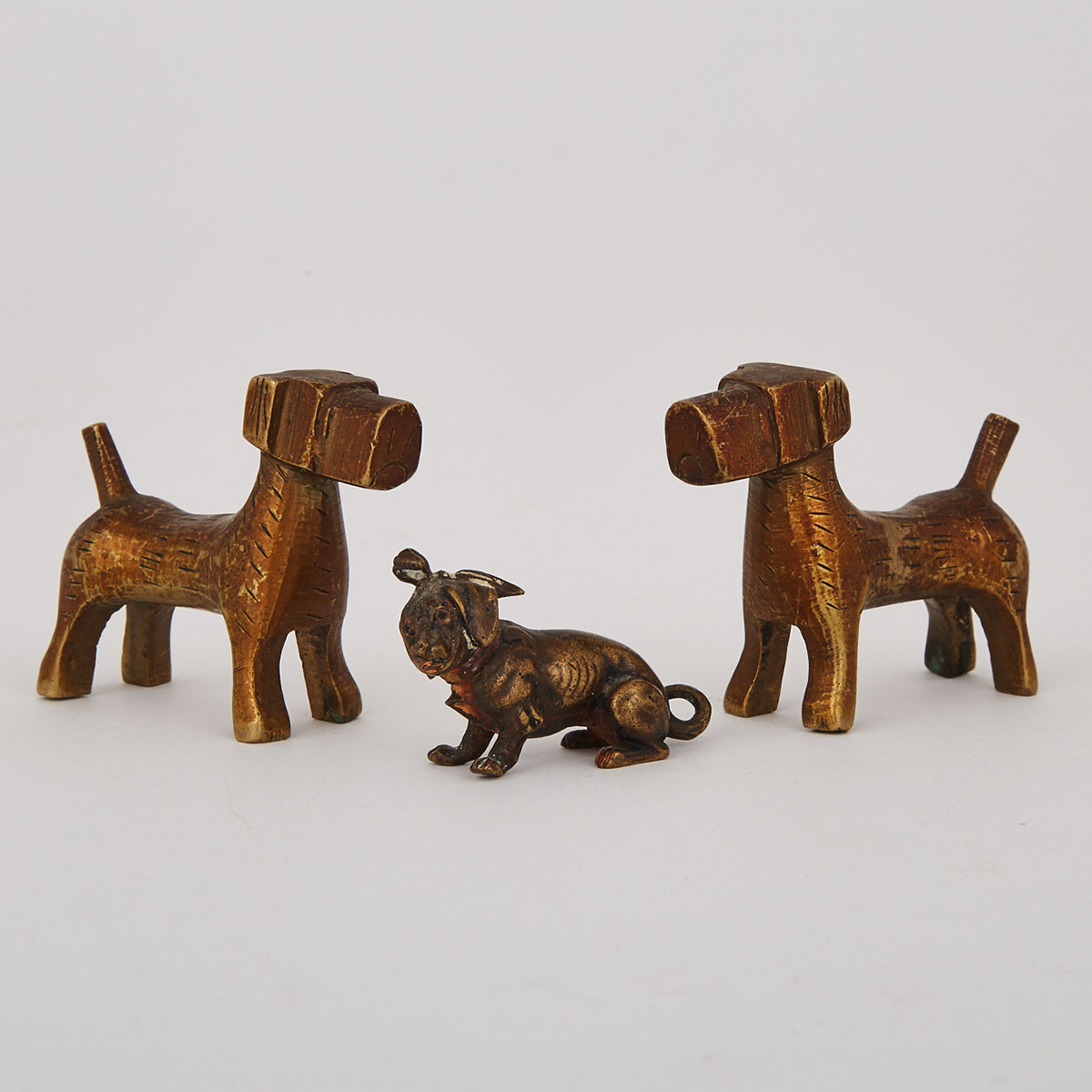 Three Austrian Bronze Miniature Models of Dogs, early 20th century