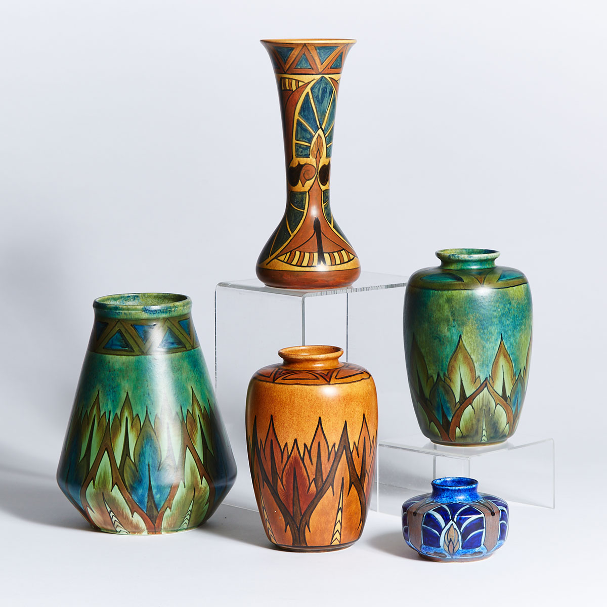 Five Clews 'Chameleon Ware' Vases, early 20th century