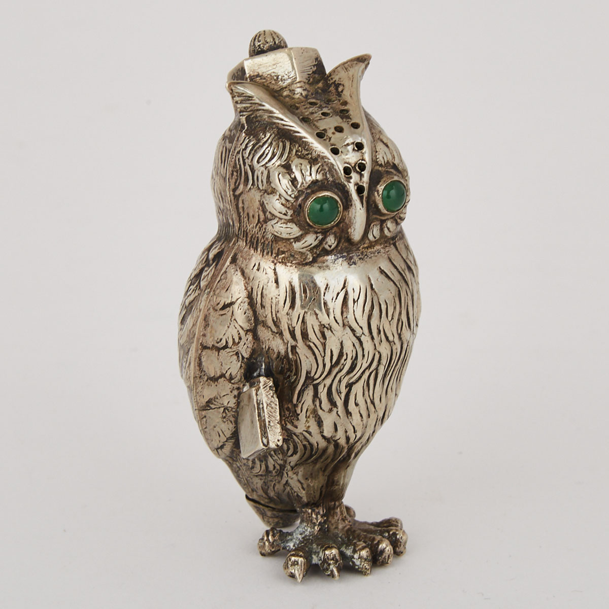 Nickel Silver Owl Form Pepperette, 20th century