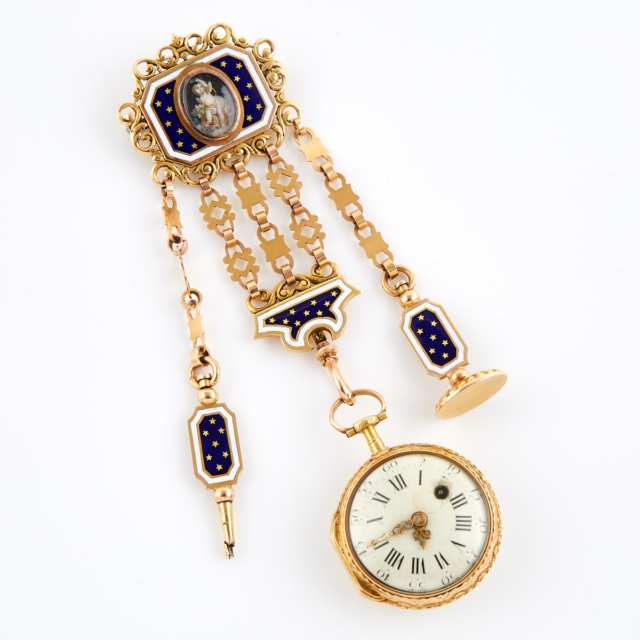 Romilly Of Paris Key Wind, Openface Fob Watch And Chatelaine