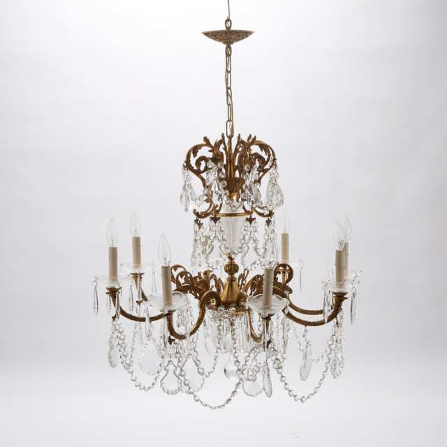 French Cut Glass Mounted Gilt Brass Eight Light Chandelier, mid 20th century
