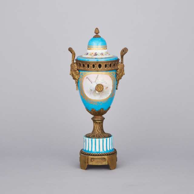 Ormolu Mounted 'Sèvres' Two-Handled Urn and Cover, late 19th century