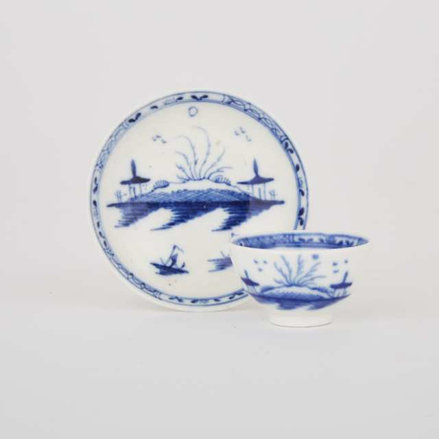 Caughley Miniature 'Island' Pattern Tea Bowl and Saucer, c.1770