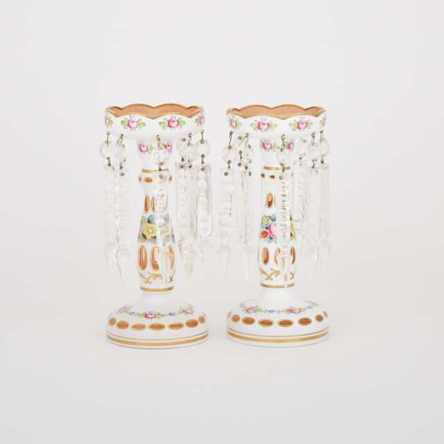 Pair of Bohemian Overlaid, Cut and Enameled Floral Glass Lustres, 20th century