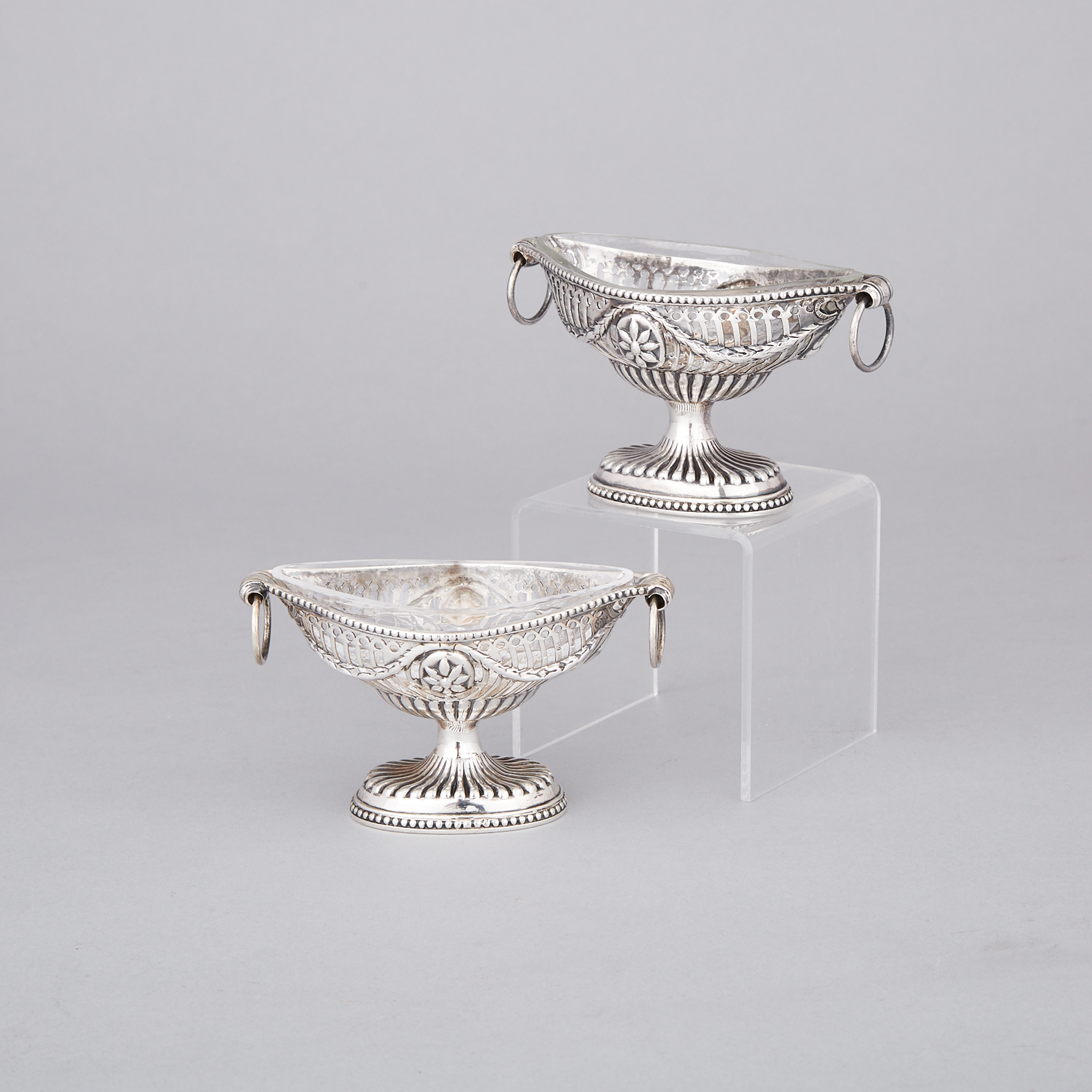 Pair of George III Scottish Silver Pierced Oval Salt Cellars, Patrick Robertson, Edinburgh, 1781