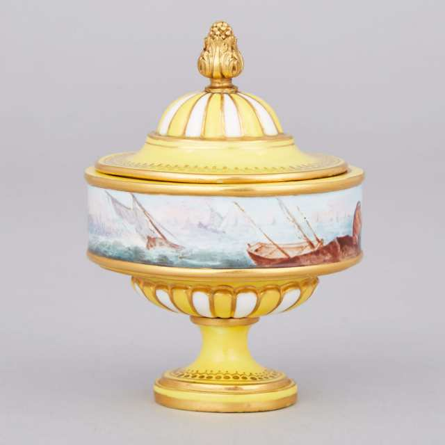 'Sèvres' Yellow Ground Harbour Scene Small Covered Vase, c.1880