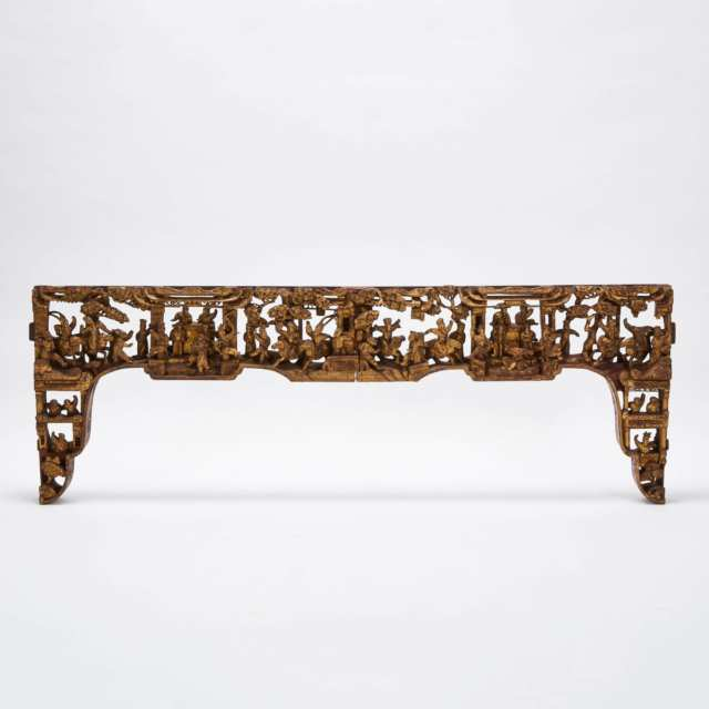 A Large Gilt Wood Carved Architectural Component, 19th Century
