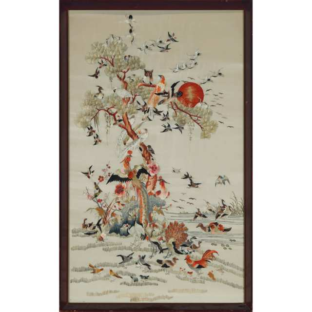 Two Chinese Embroidered Textile Paintings