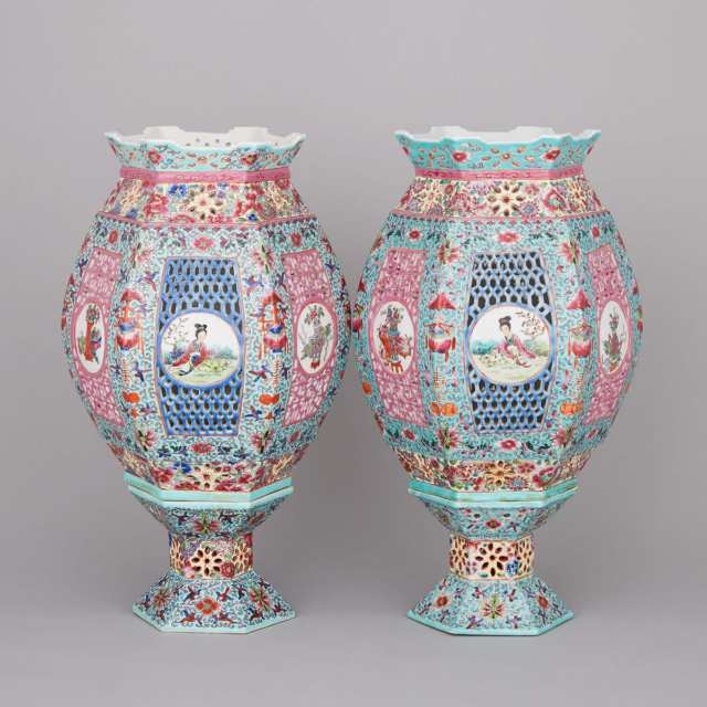 A Pair of Famille Rose Porcelain Lamp Shades, Mid 20th Century
