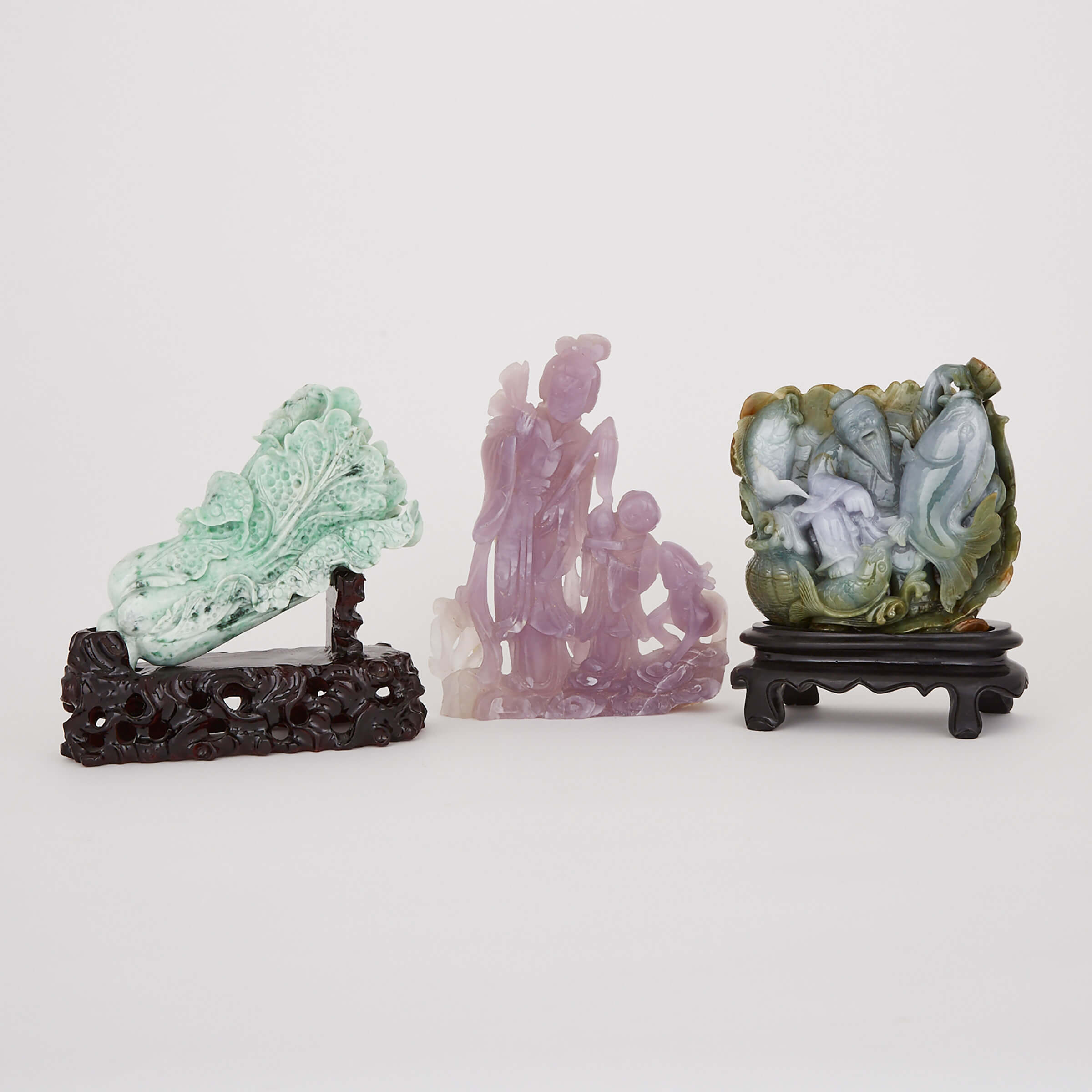A Group of Three Hardstone Carvings