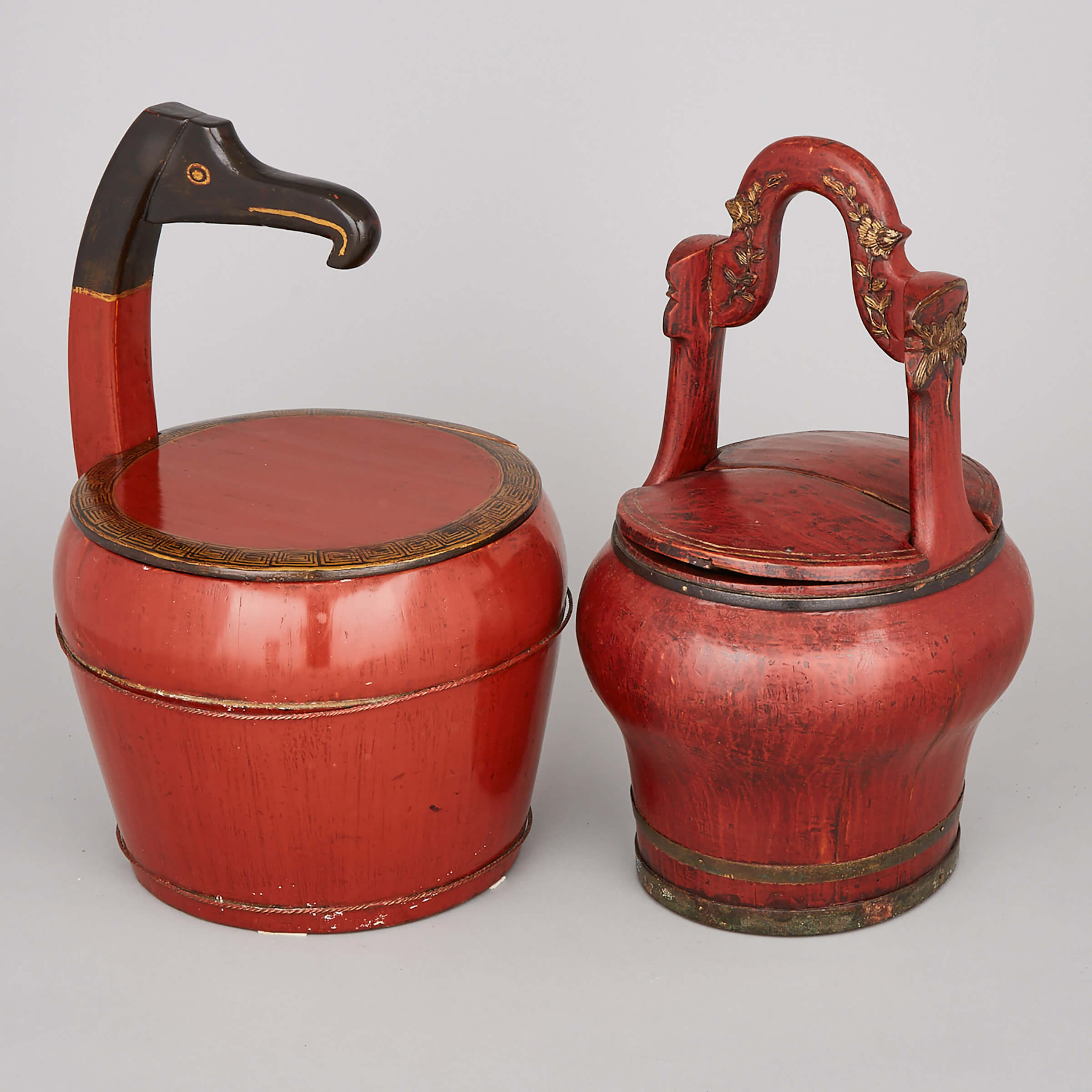 Two Chinese Red Lacquer Pails, 19th Century
