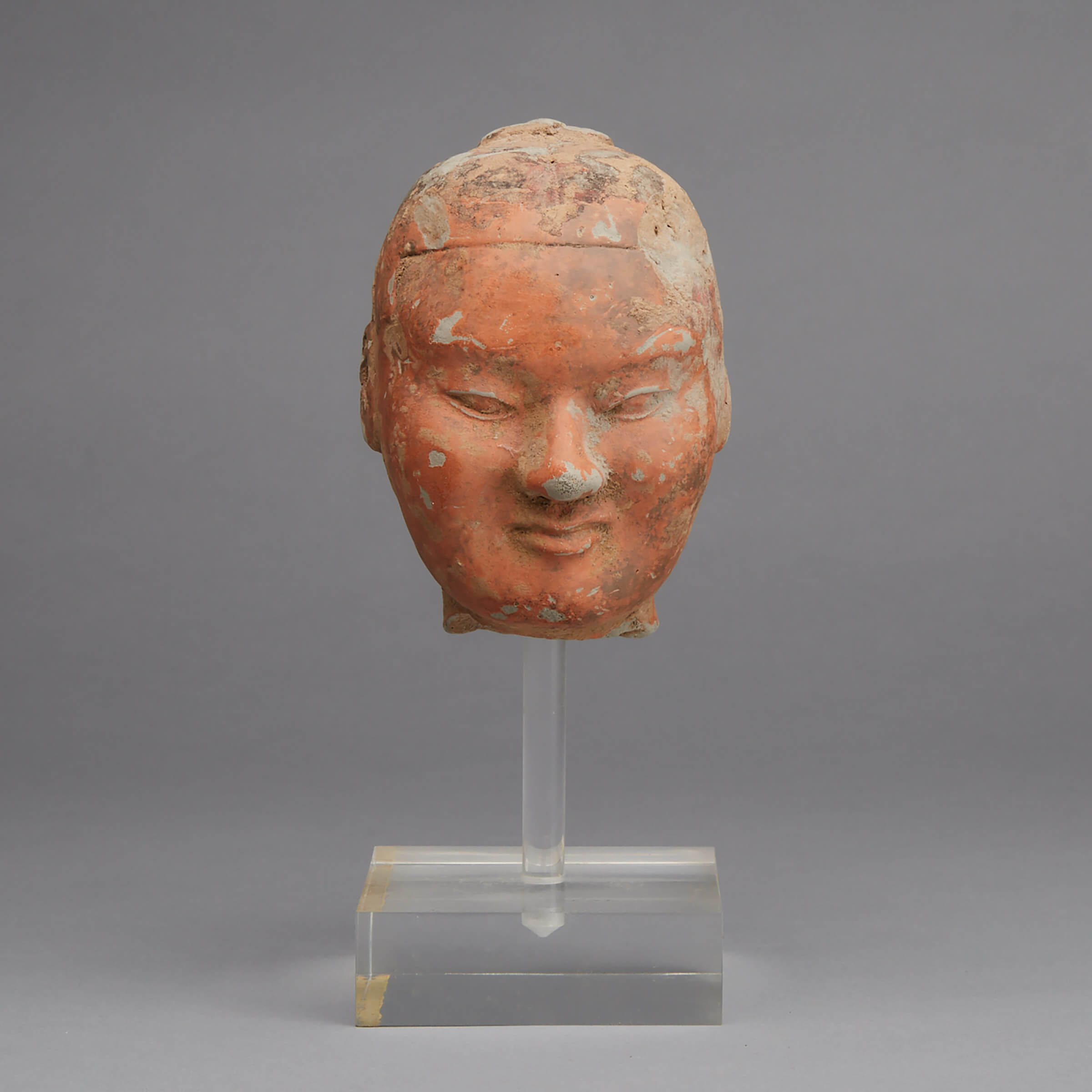 A Painted Pottery Head of a Soldier, Han Dynasty
