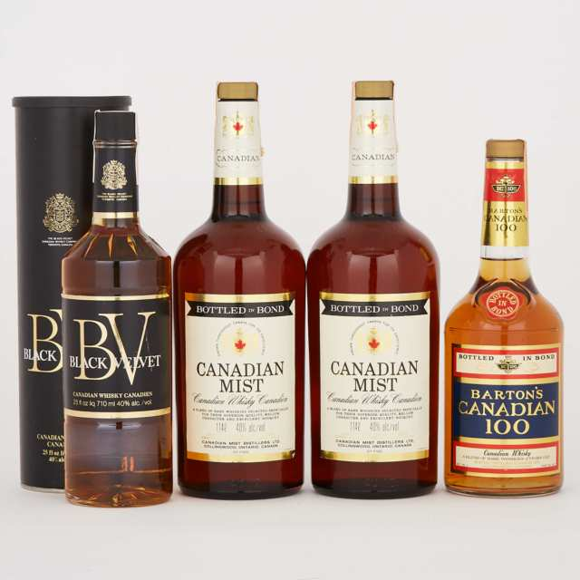 BARTON'S CANADIAN 100 CANADIAN WHISKY (ONE 25OZ) BLACK VELVET CANADIAN WHISKY (ONE 710ML) CANADIAN MIST CANADIAN WHISKY (ONE 1.14L) CANADIAN MIST WHISKEY (ONE 1.14L)