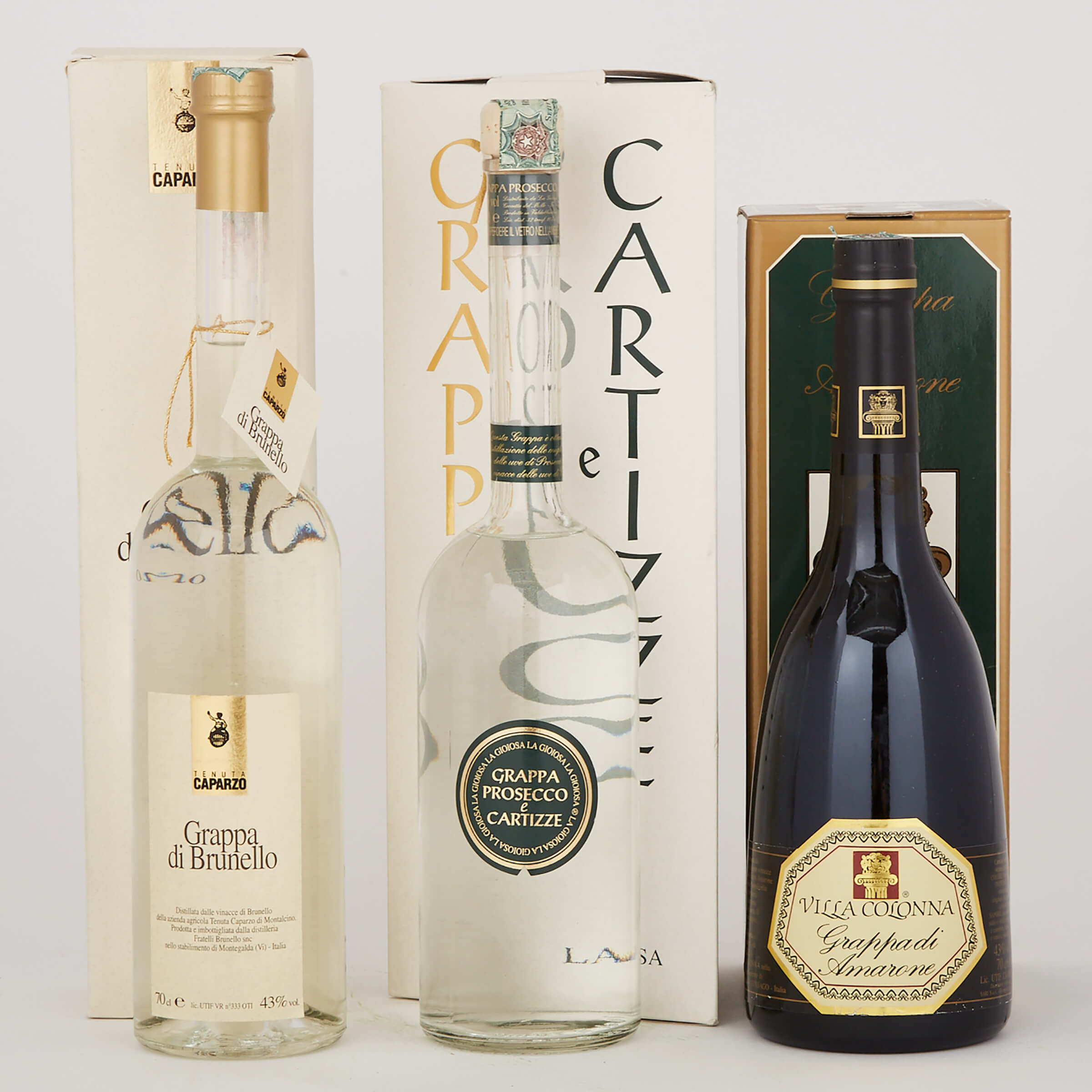 GRAPPA DI AMARONE (ONE 700 ML) GRAPPA DI BRUNELLO (ONE 700 ML) GRAPPA PROSECCO E CARTIZZE LA GIOIOSA (ONE 700 ML)