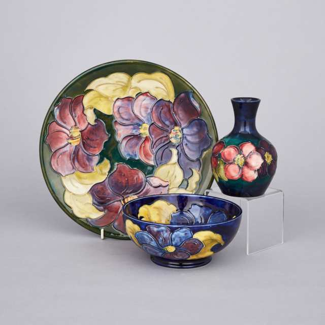 Moorcroft Clematis Bowl, Plate and Small Vase, c.1955-75