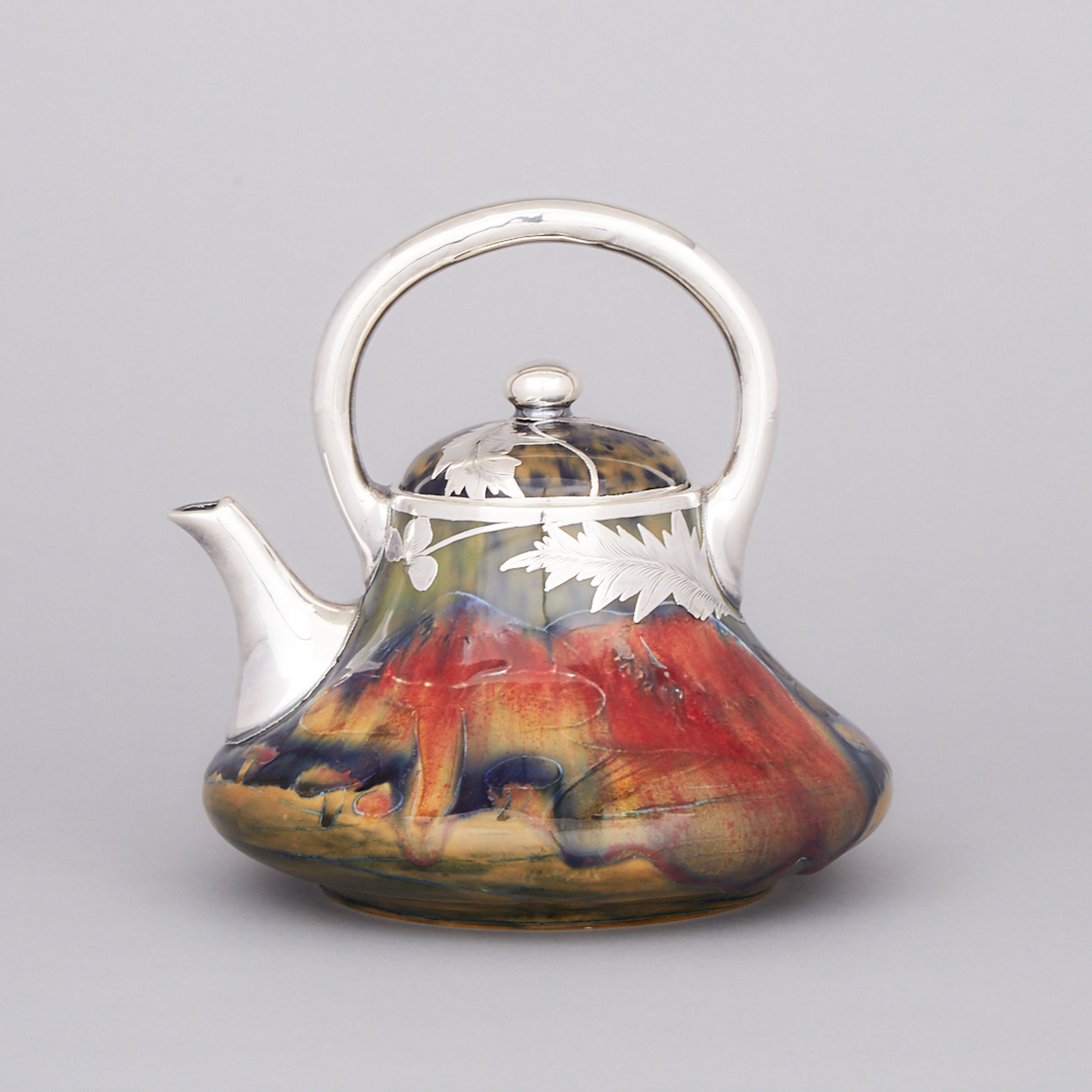 Macintyre Moorcroft Silver Overlaid Claremont Teapot, c.1905