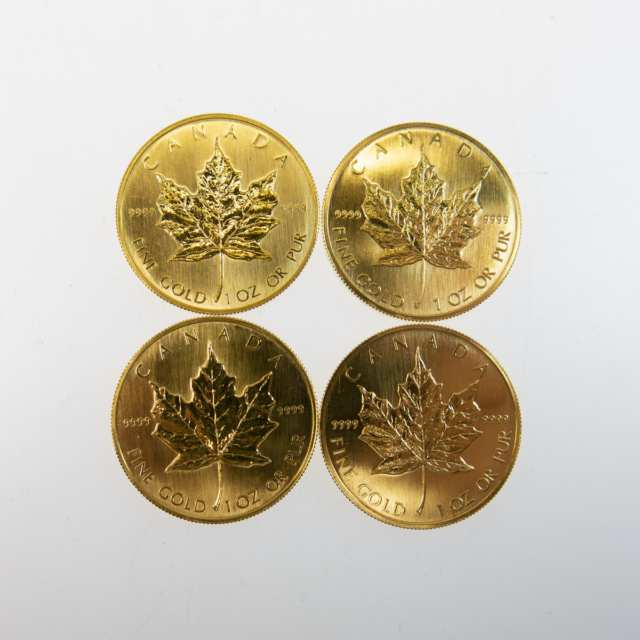 Four Canadian One Ounce Gold Maple Leaf Coins