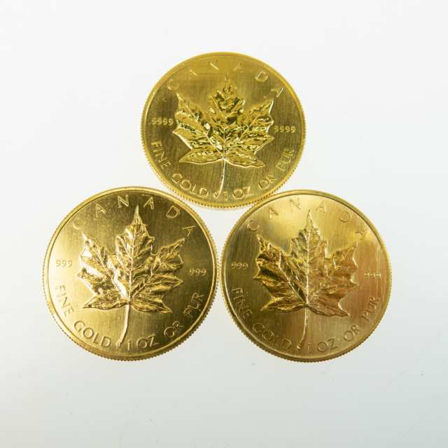 Three Canadian One Ounce Gold Maple Leaf Coins