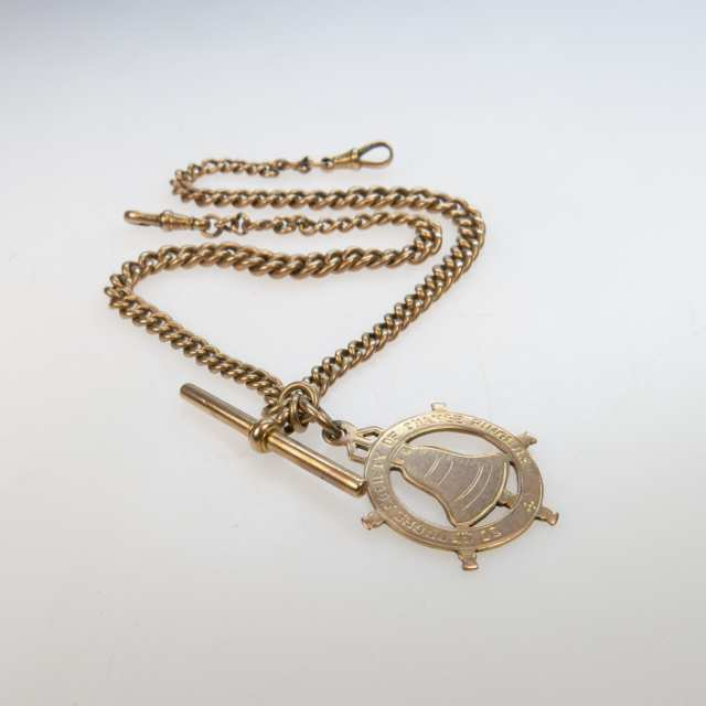 English 9k Rose Gold Curb Link Watch Chain