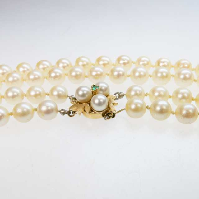 Double Strand Cultured Pearl Necklace (7.5mm to 8.0mm)