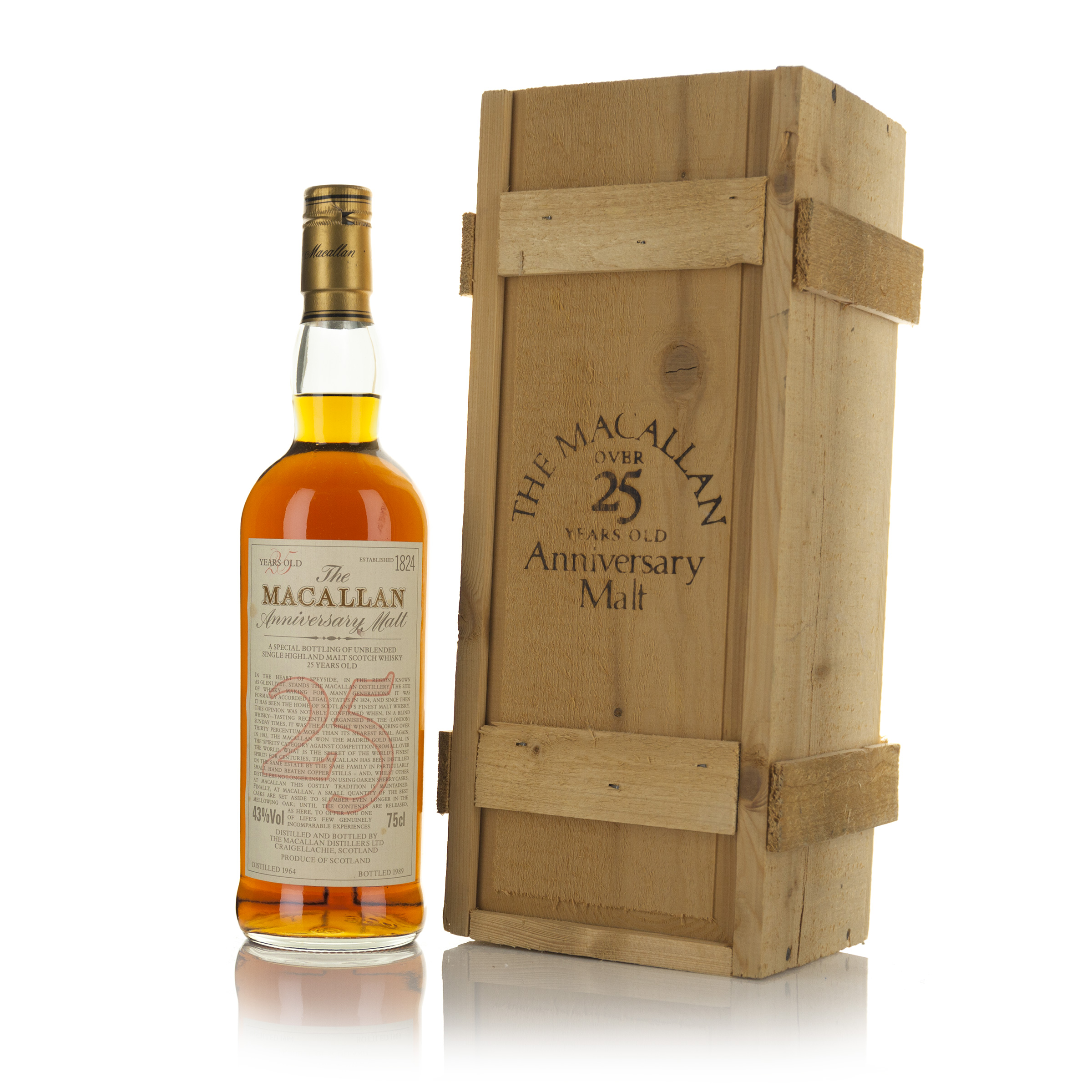 THE MACALLAN 25 ANNIVERSARY SINGLE HIGHLAND MALT SCOTCH WHISKY 25 YEARS (ONE 75 CL)