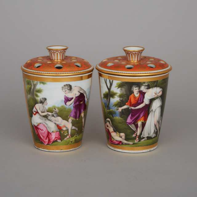 Chamberlains Worcester Orange & Gilt Ground Bough Pots