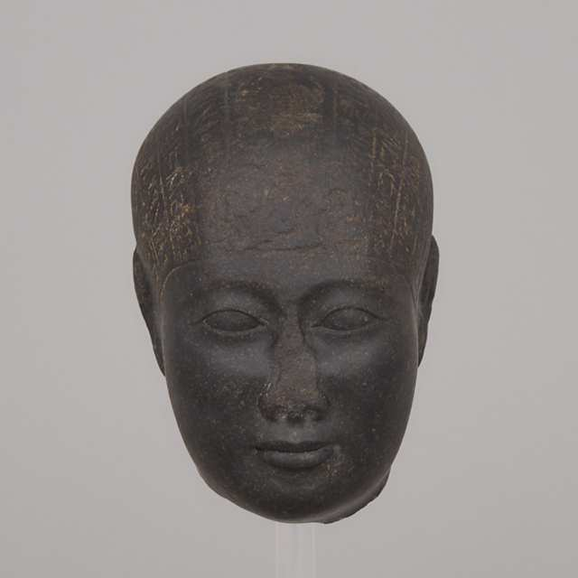 Egyptian Basalt Head of a Healing Statue, Late Period-Ptolemaic Period, 7th-2nd century B.C.