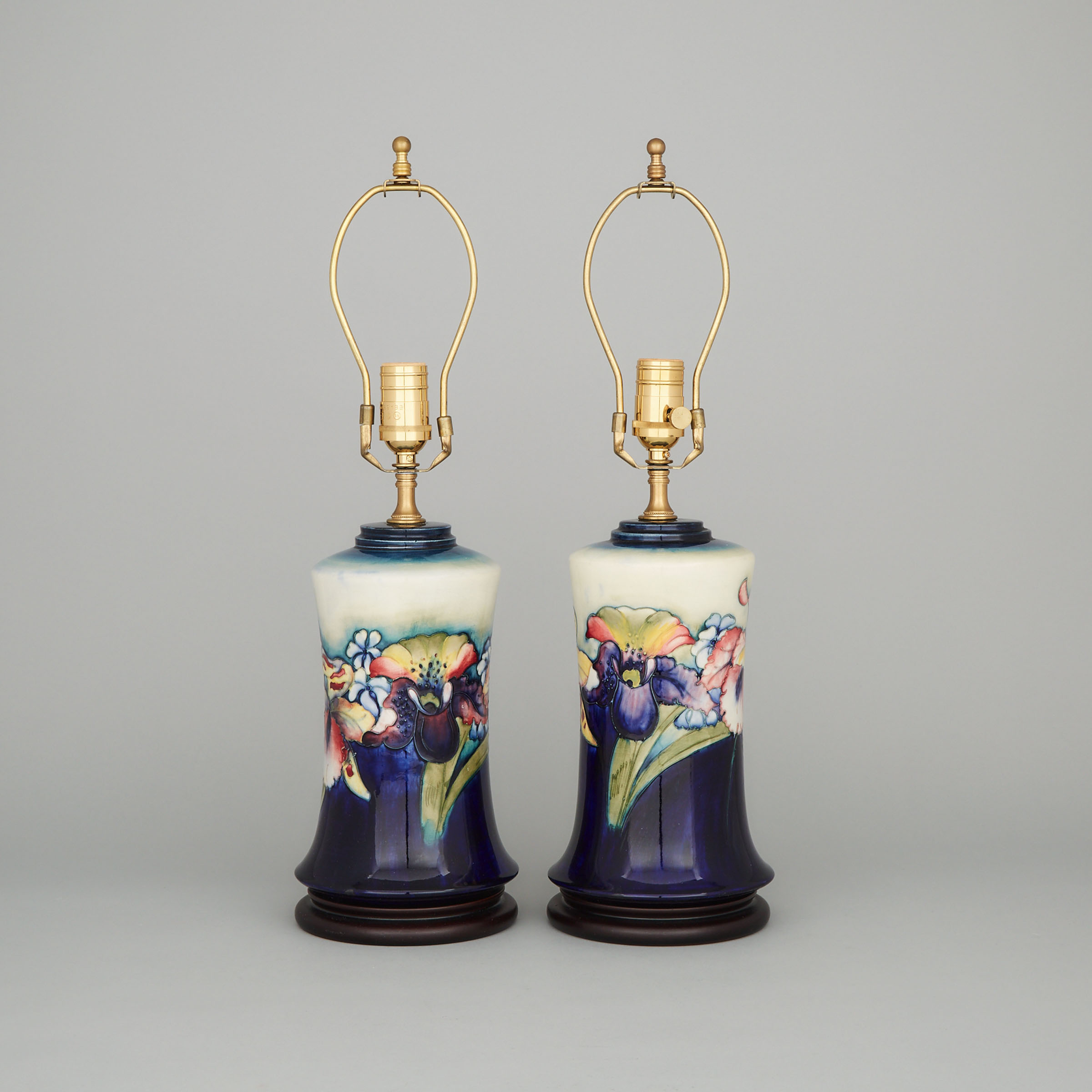 Pair of Moorcroft Orchids Table Lamps, c.1945-49